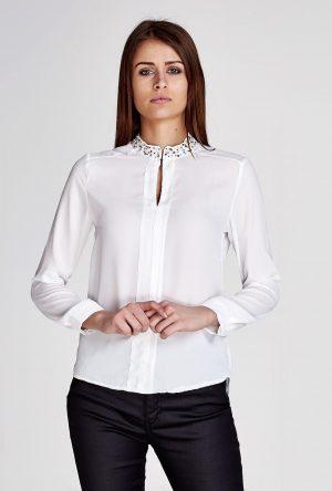 białe koszule damskie z cekinami